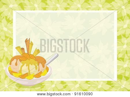 Ice Cream, Citrus, Waffles and Floral Background