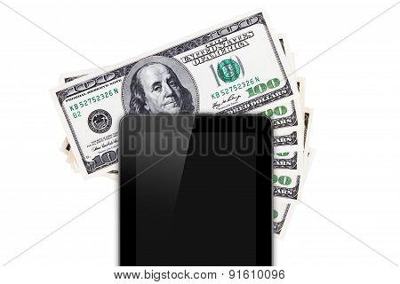 Tablet Technology On Hundred Banknotes