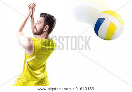 Volleyball player on yellow uniform on white background
