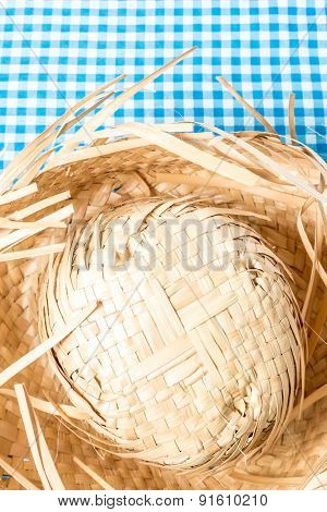 Straw Hat on the table (Festa Junina Theme)