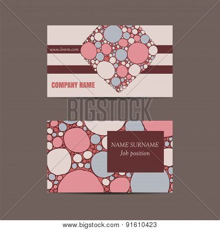 Business Card With Hand Drawn Doodle Pattern
