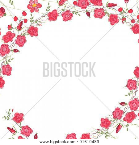 Detailed contour square frame with herbs, roses and wild flowers isolated on white. Greeting card for your design, greeting cards, wedding announcements, posters.