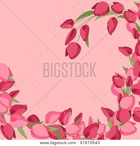 Backdrop with spring pink and red tulips. Frame for your design, greeting cards, announcements, posters.