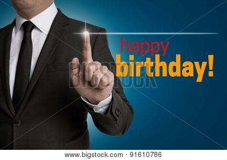 Happy Birthday Touchscreen Is Operated By Businessman
