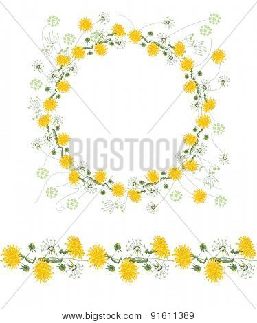 Detailed contour wreath and seamless pattern brush with dandelions and herbs isolated on white. Endless horizontal texture for your design, greeting cards, announcements, posters.