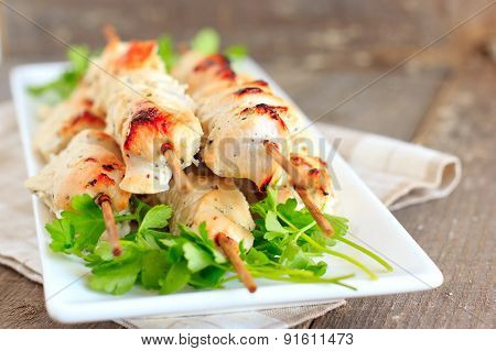 Chicken Fillet Barbecue With Yogurt And Garlic