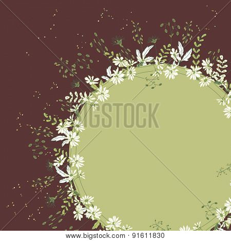Detailed contour floral frame with herbs, forest plants and berries. Brown and green color. Blank, space for text. For your design, announcements, posters.