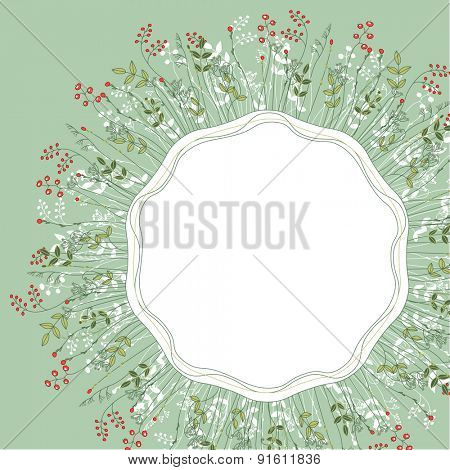Detailed contour floral frame with herbs, forest plants and berries. Light green color. Blank, space for text. For your design, announcements, posters.