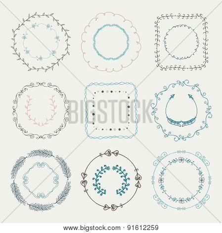 Colorful Hand Sketched Frames, Borders, Design Elements