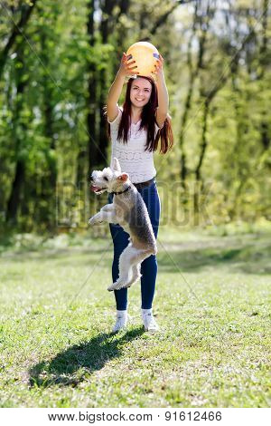 portrait of Beautiful young girl with her dogs