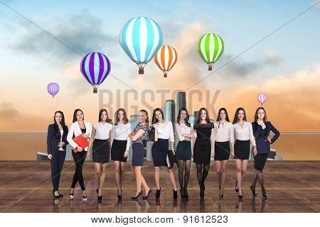 Businesswomen on the roof