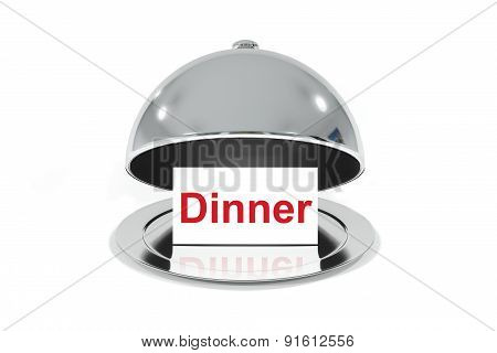 Opened Silver Cloche With White Sign Dinner
