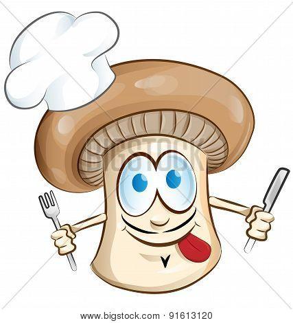 Mushroom Chef Cartoon Isolated On White Background