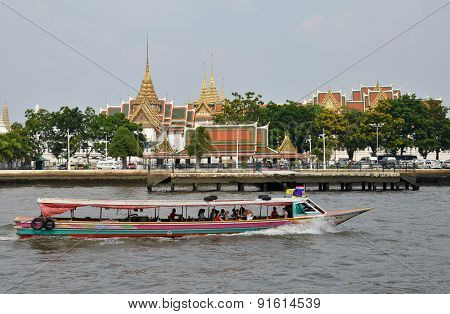 The Tourists Get On Boat For Sightseeing Along Chao Phraya River In Bangkok