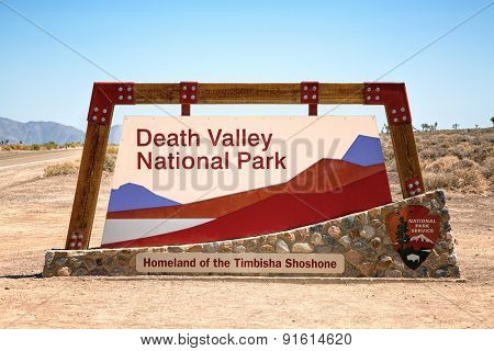 Death Valley National Park sign, California, USA
