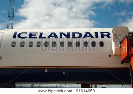 OSLO, NORWAY - MAY 3, 2015: Icelandair logo on the fuselage of one of the airlines Being 757 aircraft