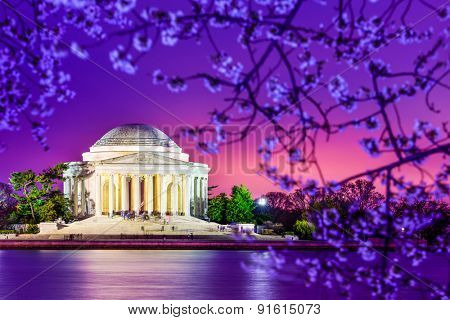 Washington, DC at the Jefferson Memorial during spring.