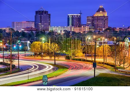 Greebsboro, North Carolina, USA downtown skyline.