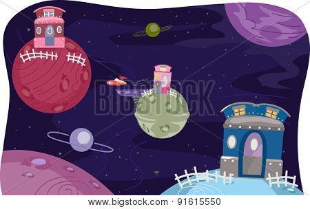 Whimsical Illustration of Houses Atop Planets
