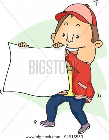Illustration of a Sports Fan Waving a Blank Banner in Glee