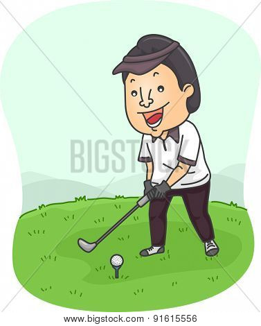 Illustration of a Man Preparing to Hit a Golf Ball