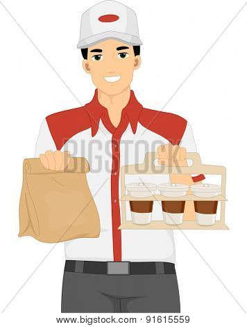 Illustration of a Delivery Man Carrying Takeout Food