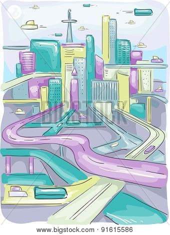 Futuristic Illustration of a Modern City with Long and Winding Highways