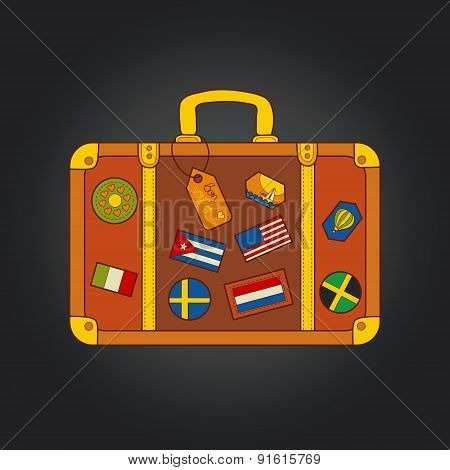 Vector vintage suitcase with stickers