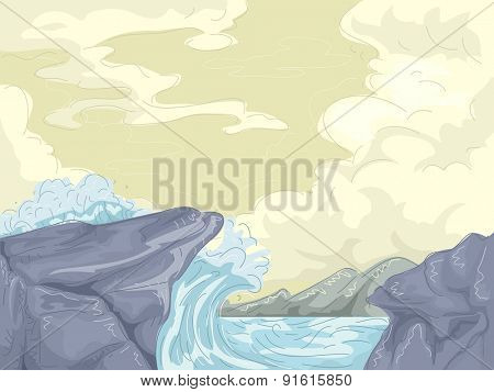 Illustration of Giant Waves Crashing Against the Shore