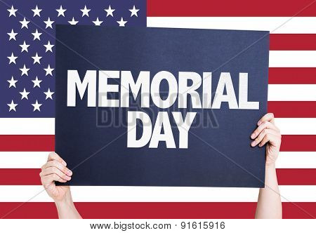 Memorial Day sign with america flag background