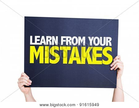 Learn From Your Mistakes card isolated on white