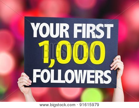 Your First 1,000 Followers card with bokeh background