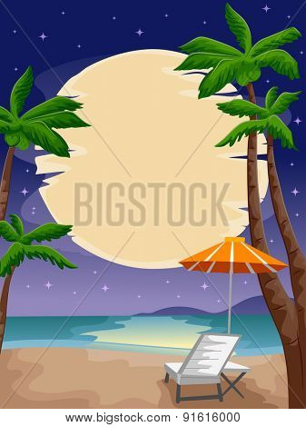 Illustration of a Peaceful Beach Front Lighted by the Moon