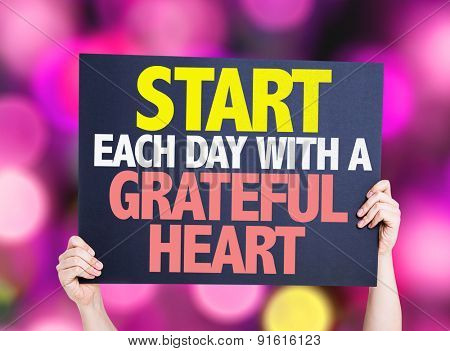 Start Each Day With a Grateful Heart card with pink bokeh background