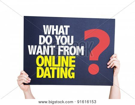 What Do You Want From Online Dating? card isolated on white