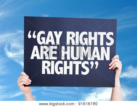 Gay Rights Are Human Rights card with sky background