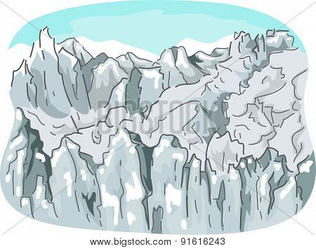 Illustration of a Ragged Mountain Range Covered with Snow