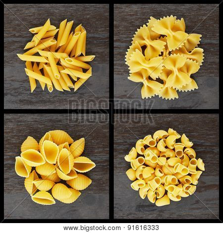 Set of italian pasta in wood background