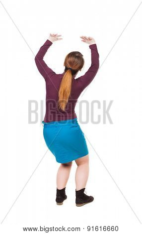 back view woman protects hands from what is falling from above. Man holding heavy load Rear view people collection.  Isolated over white background. On top Woman pushing something heavy.