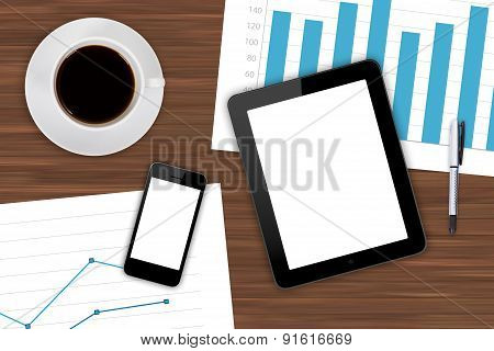 Digital Devices And Financial Charts With Coffee