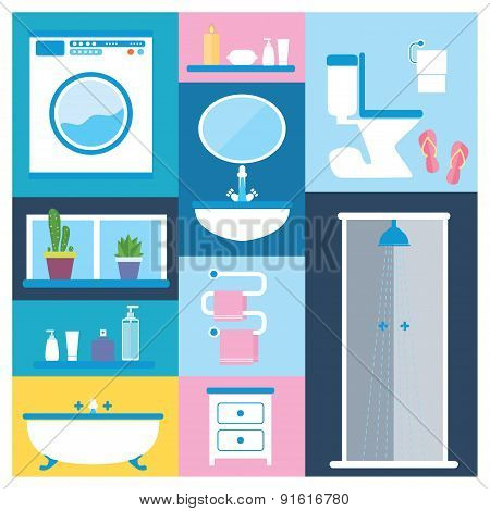 Bathroom furniture objects icons set with interior accessories for washing