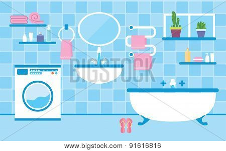 Bathroom interior with furniture in blue colors
