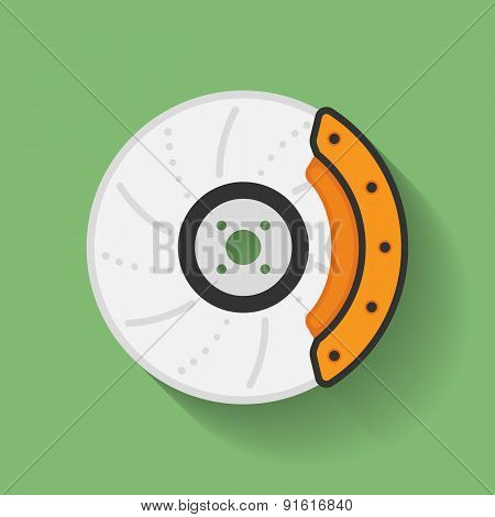 Icon Of Car Brake Disc And Brake Shoe. Flat Style