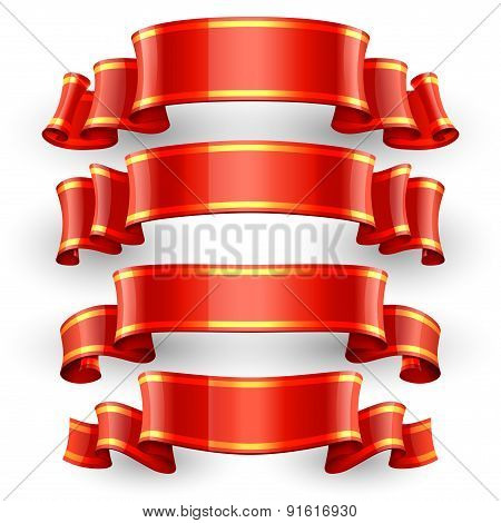 Red Glossy vector ribbons with a yellow stripe