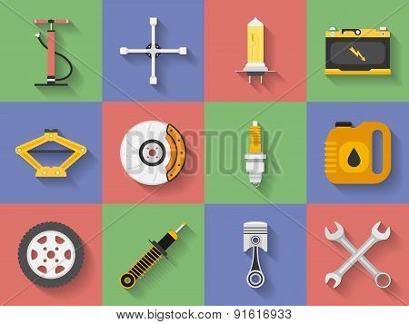 Icon Set Of Car Repair Parts, Car Service. Flat Style