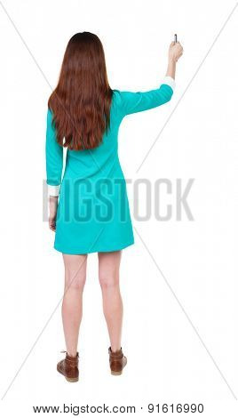 back view of writing beautiful woman. Young girl in dress. Rear view people collection.  backside view of person. Isolated over white background.