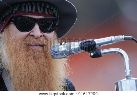 Concord, NC - May 24, 2015:  ZZ Top performs for the crowds before the start of the Coca-Cola 600 at Charlotte Motor Speedway in Concord, NC.