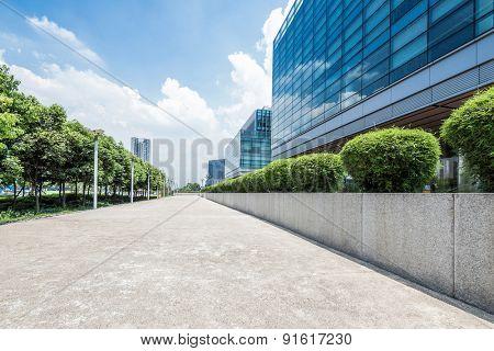 Chengdu,china-July 23,2014:Empty floor near modern office building in chengdu.It's epitome of fast development in southwest china.