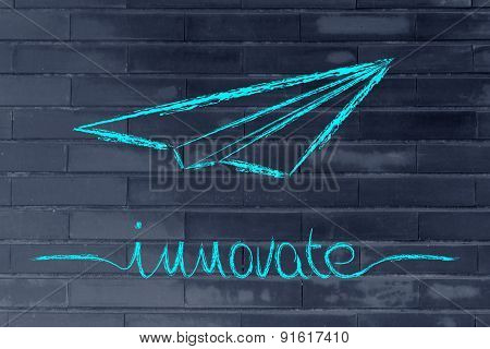 Business Vision: Paper Airplane Flying, Symbol Of Innovative Ideas And Creative Thinking