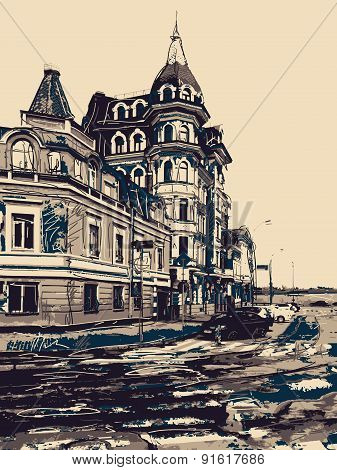 sketch drawing of city Kyiv modern landscape, Podol, Ukraine